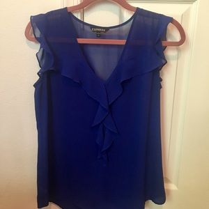 Royal blue Express sheer blouse